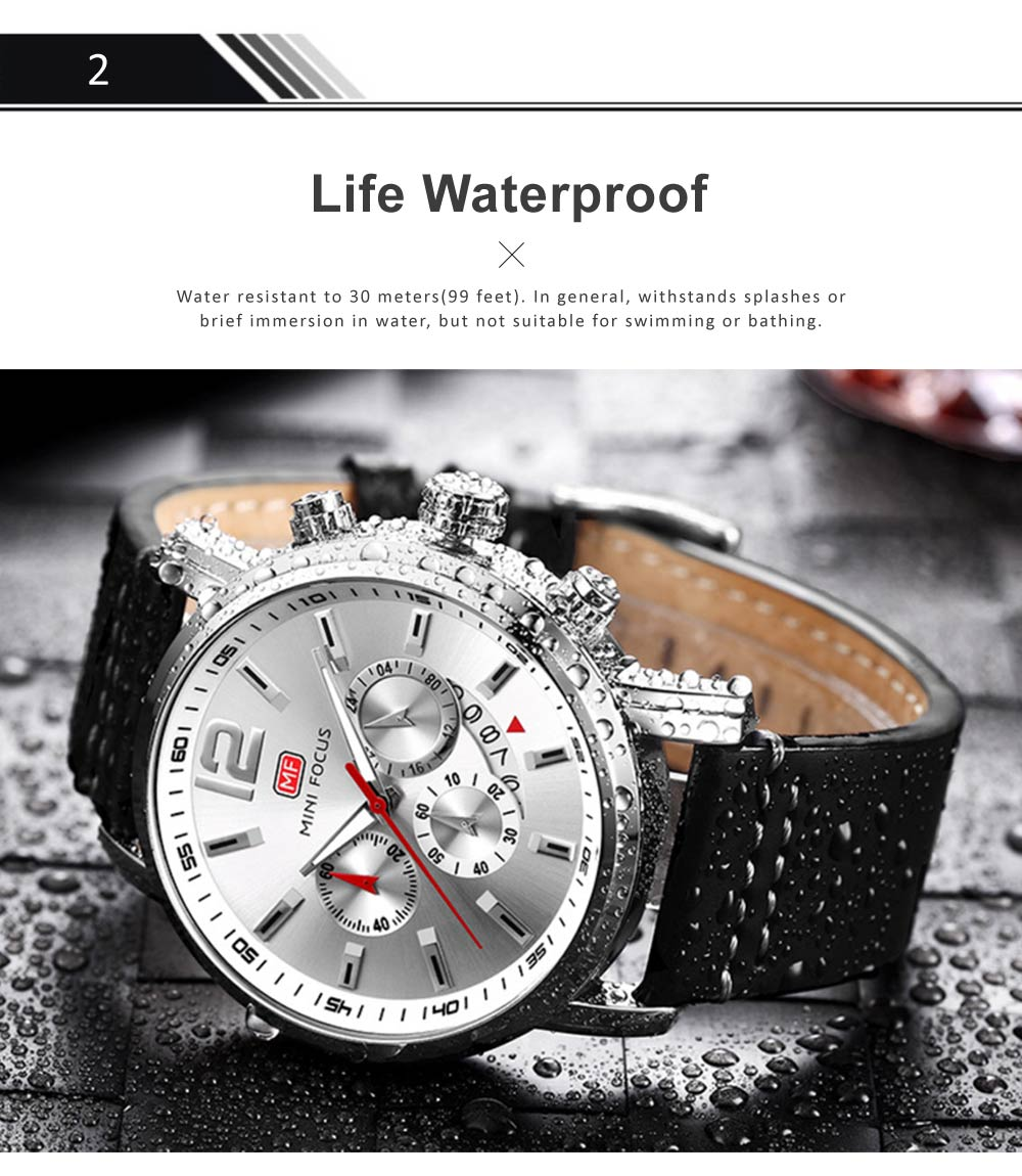 Men's Calendar Quartz Luminous Watch, Waterproof Sports Watch with Stylish Casual Leather Strap for Sport & Business Work 2