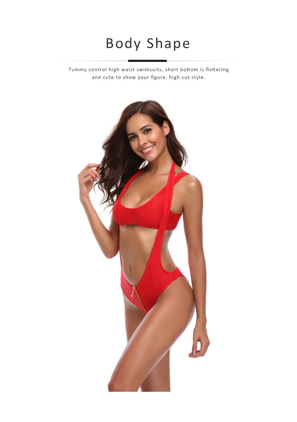 Women's Swimsuit Zipper Front High Waist High Cut Two Piece Bikini Sets Fashion Sexy Beachwear 5