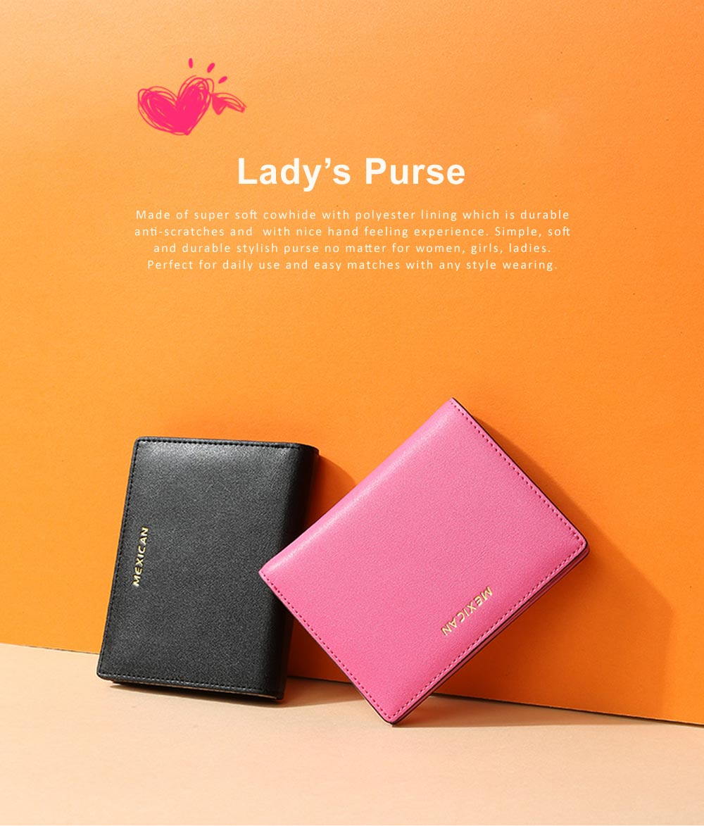 Women Purse Small Leather Pocket Purse Ladies Mini Short Purse Slim Bifold Retro Money Clip Gifts for Women 0