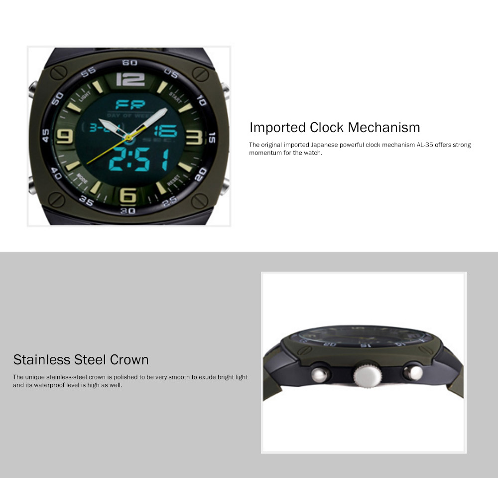 Dual Display Classics Watches for Men, Fashionable Male Watch Large Dial Plate Watches with Silicone Strap 1