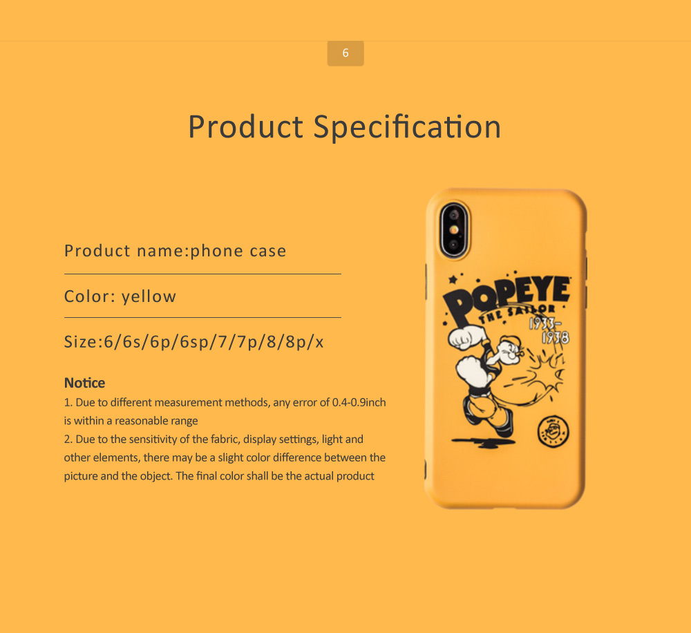 Cute Cartoon Phone Case Soft TPU Back Case Cover Bright Color Matte Phone Shell for iPhone 6/6s/6p/6sp/7/7p/8/8p/x 6