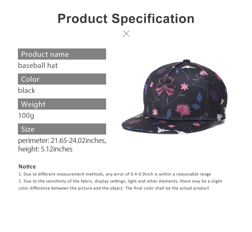 Unisex Baseball Hat Cotton Breathable Floral Print Trucker Hat Snap Back Hip Pop Baseball Caps for Gifts Fitness Running 6