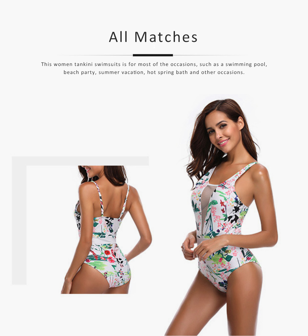 Womens One Piece Swimsuits Mesh V Neck Monokini Bathing Suits Tummy Control Floral Printed Swimwear 4