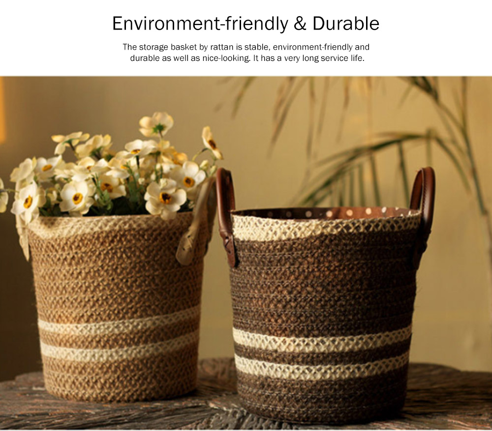 Rattan Plaited Storage Basket for Sundries, Household Storage Bucket 1 Gallon for Decoration Storage Bucket, Gray Pastoral Style 3
