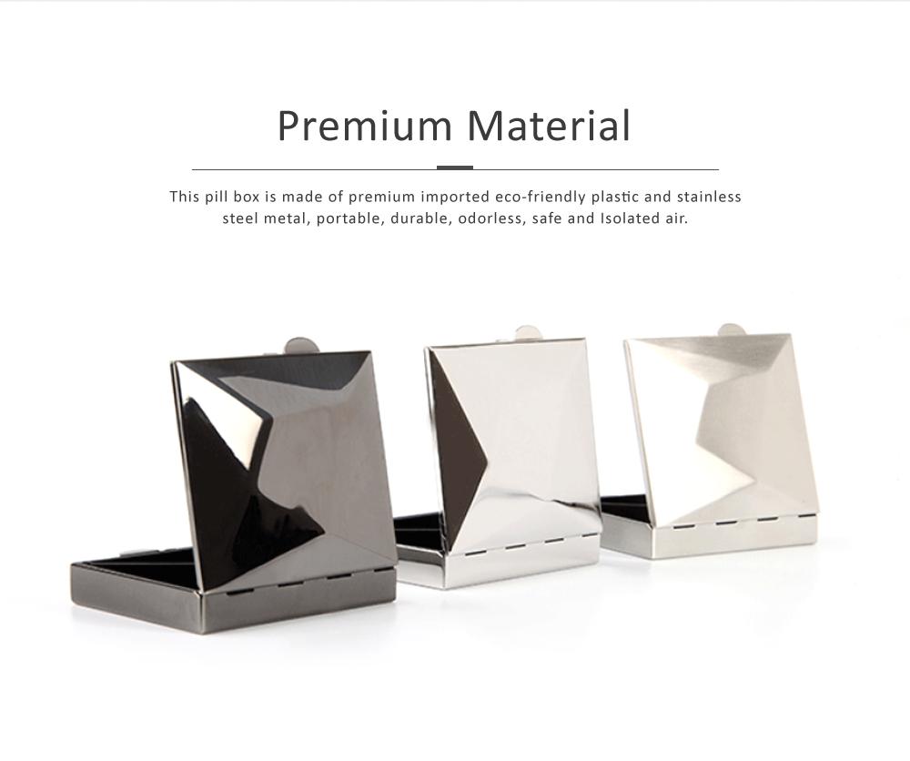 Square Pill Box Fashion Metal Diamond Stainless Steel Pill Case Quartile Pill Organizer Portable Tablet Holder 1
