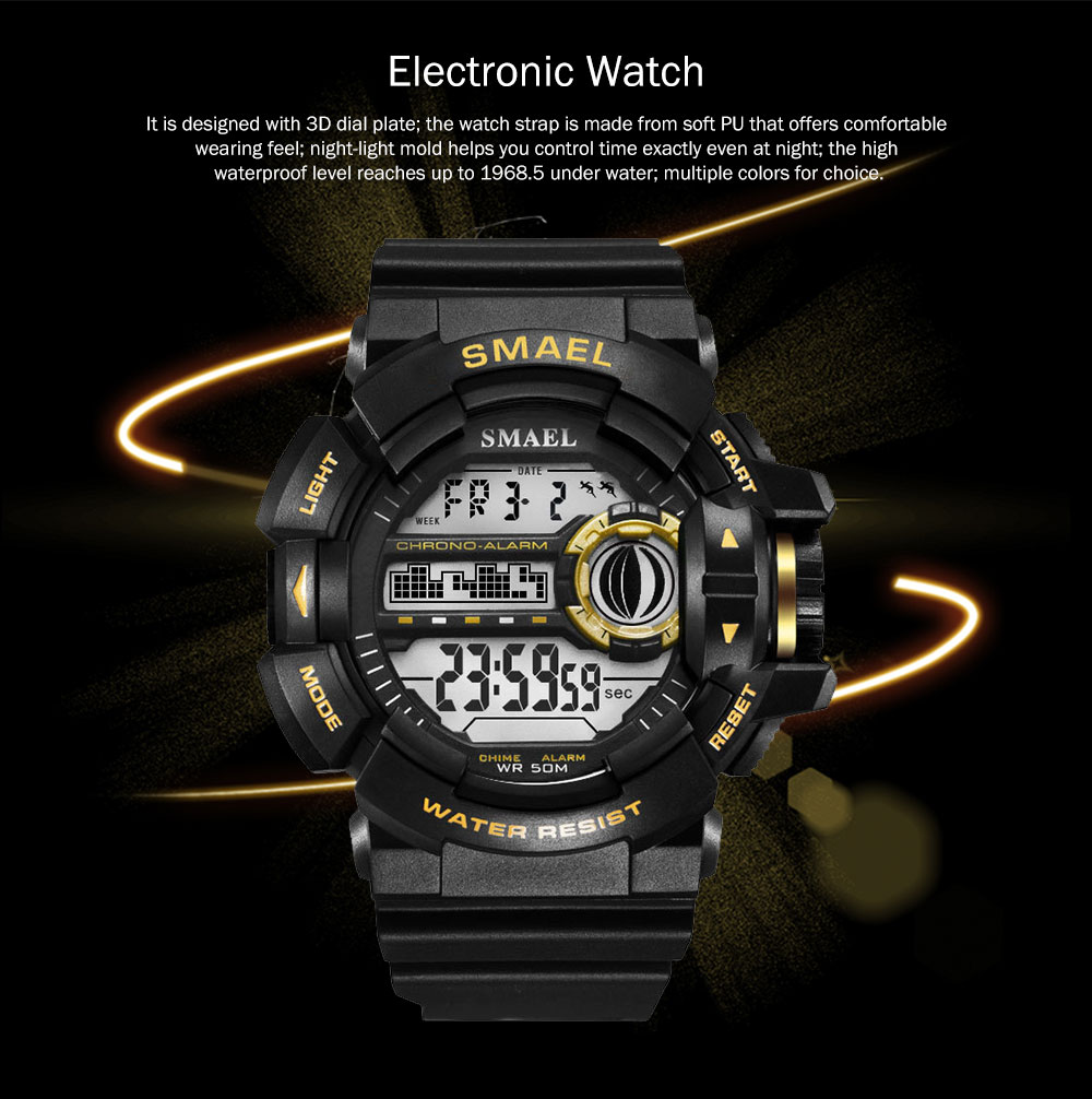 New-style Electronic Watches for Men, Outdoor Electronic Watch for Boys, Waterproof Shakeproof Sports-dedicated Watch 0