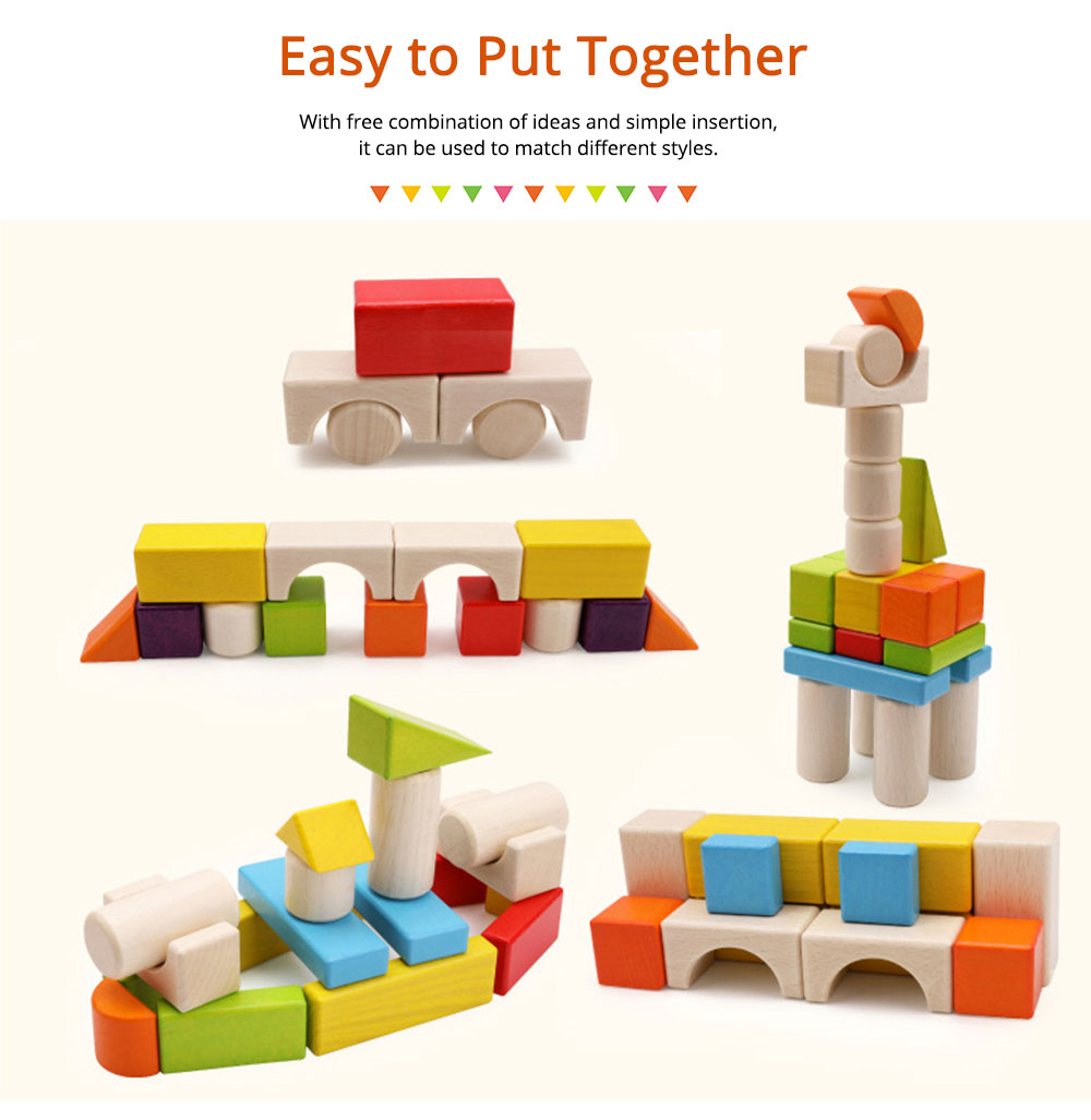Wooden Toy Building Blocks, Colorful Amazing Big Particles Children Early Education Wooden Educational Building Blocks 4