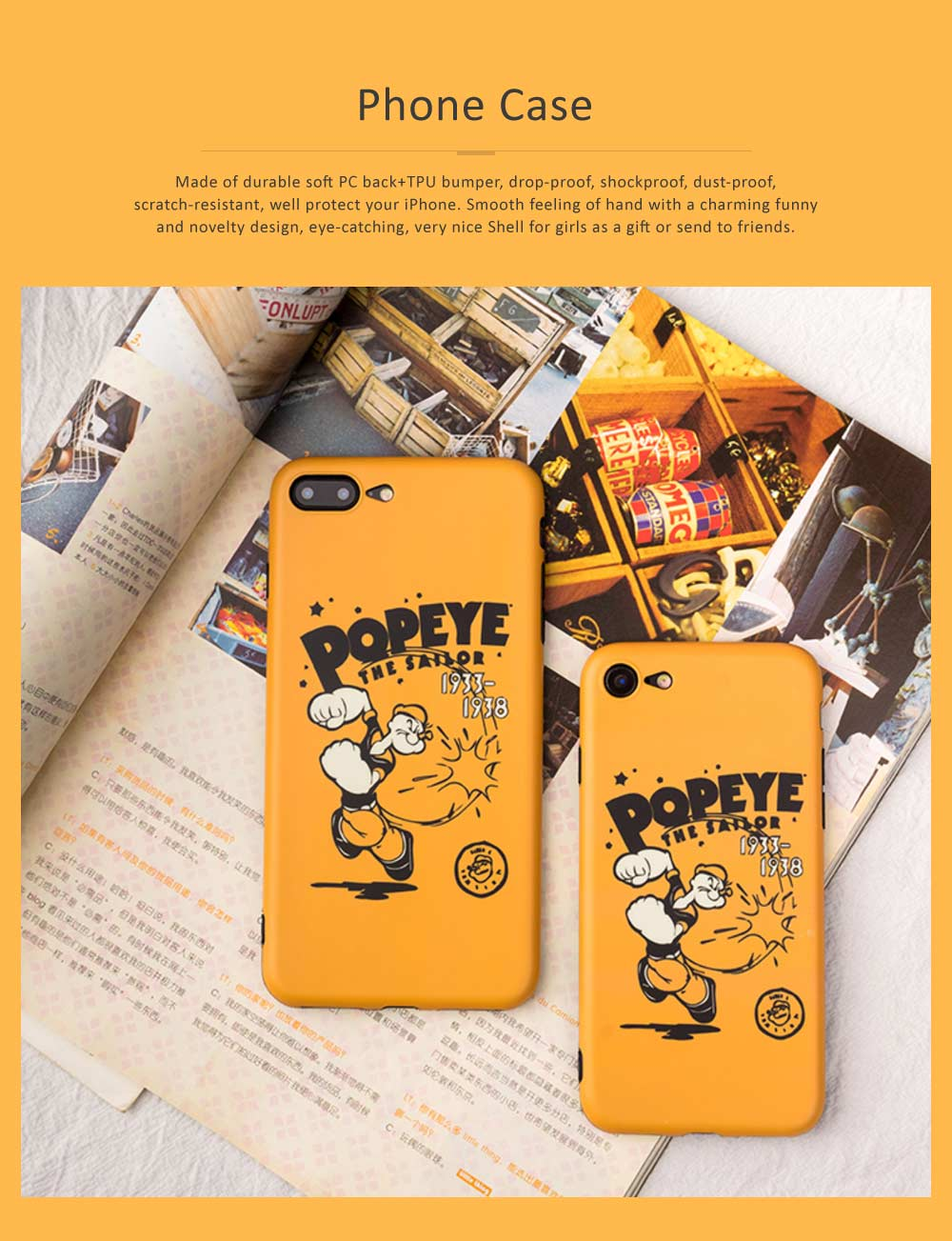 Cute Cartoon Phone Case Soft TPU Back Case Cover Bright Color Matte Phone Shell for iPhone 6/6s/6p/6sp/7/7p/8/8p/x 0