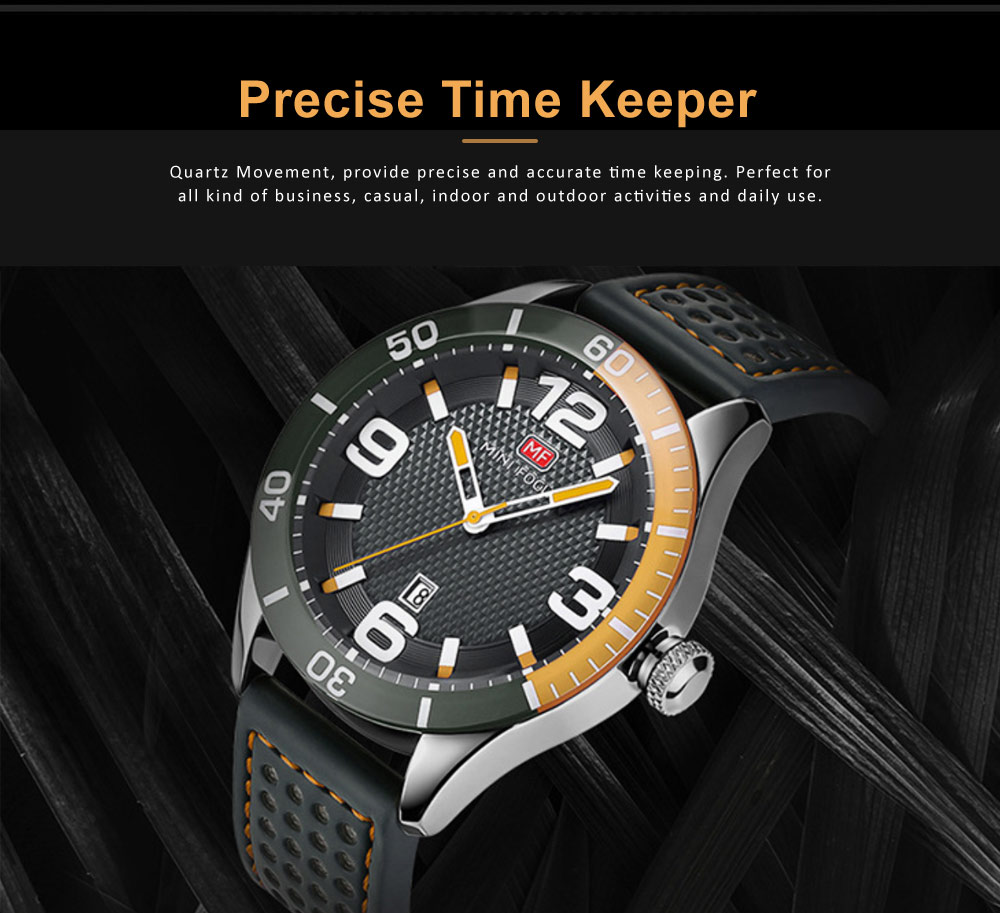 Men's Calendar Quartz Watch with Stylish Casual Leather Strap, Digital Waterproof Sports Watch for Sport & Business Work 3