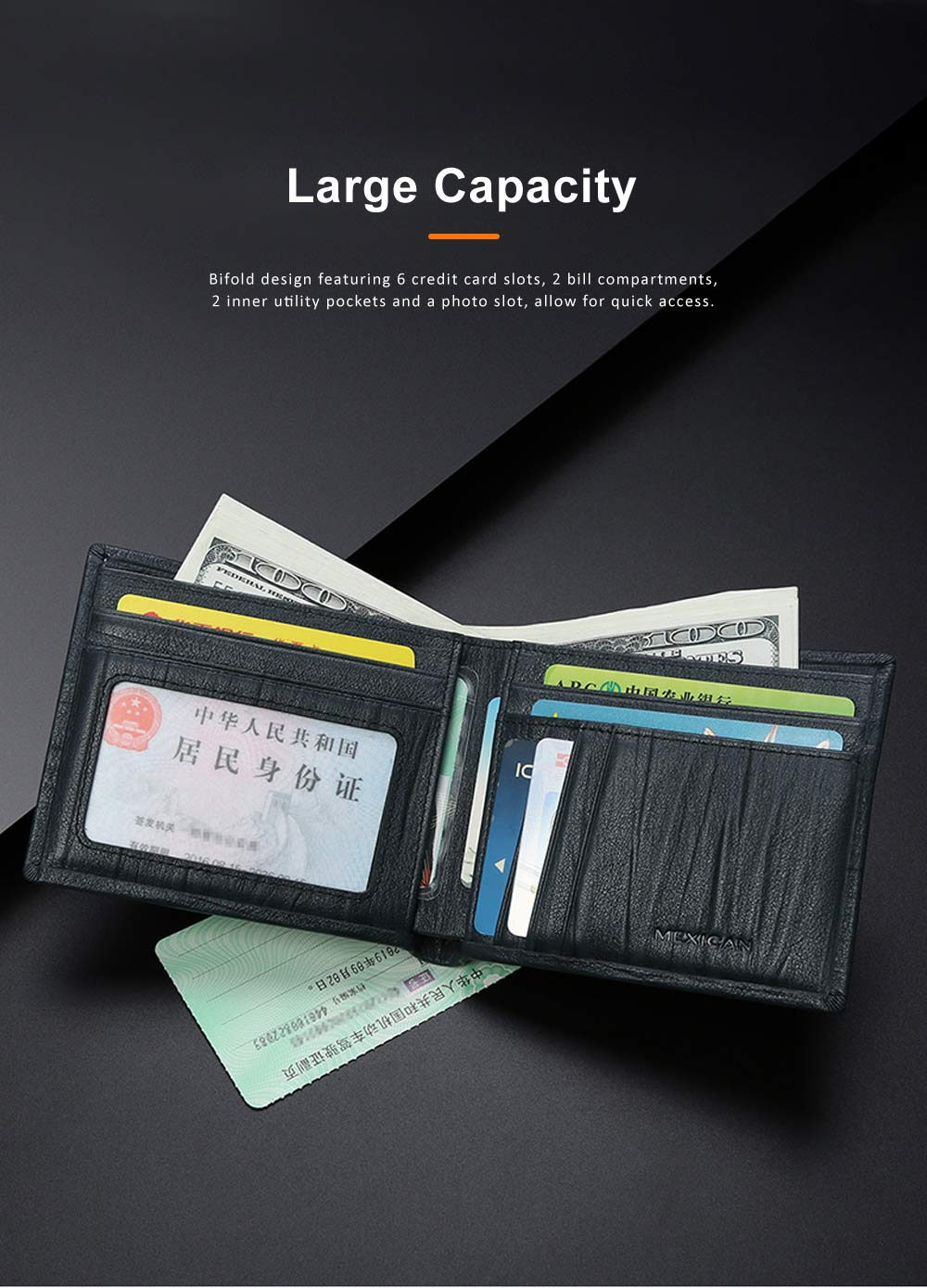 Men Wallet RFID Blocking Genuine Leather Wallets Slim Bifold Top Flip Money Clip Gifts for Men 4
