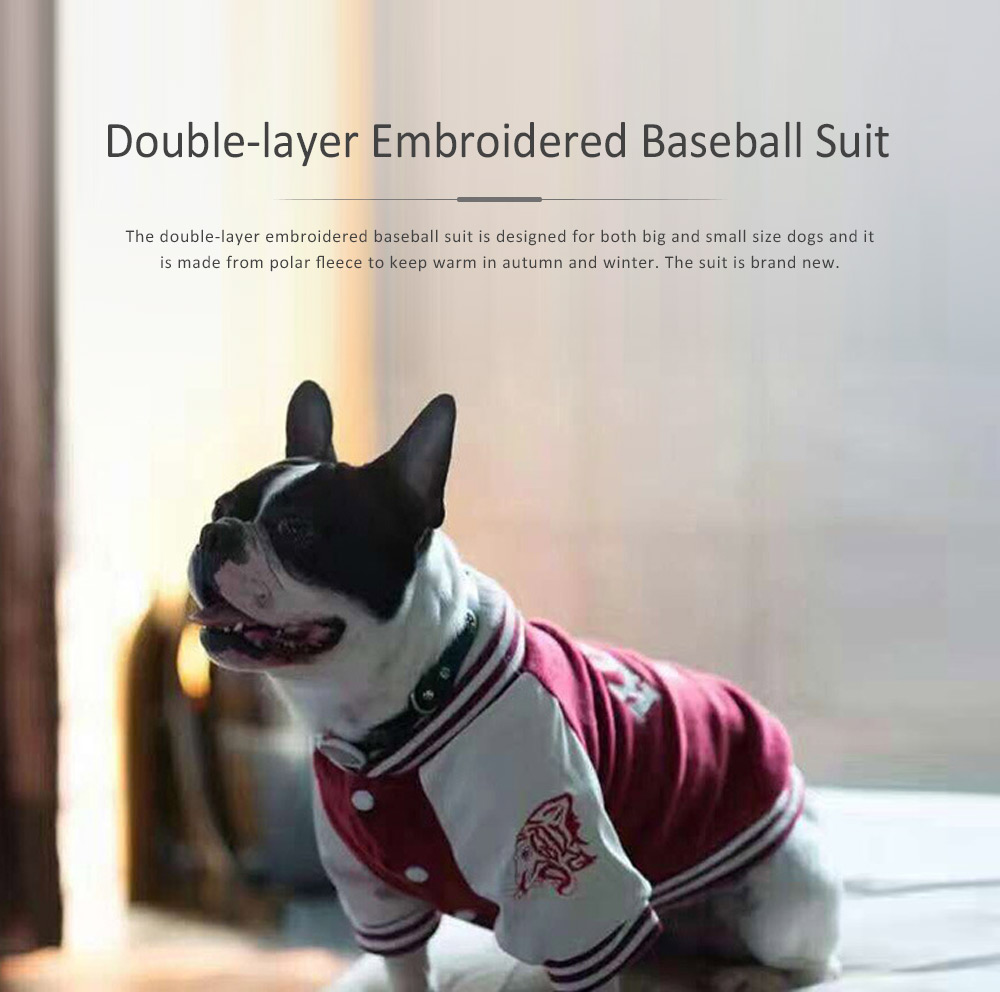 Dog Baseball Costume Double-layer Embroidered New-style Baseball Suit for Both Big and Small Size Dogs in Autumn and Winter 0