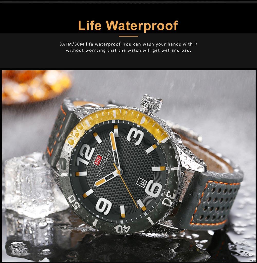 Men's Calendar Quartz Watch with Stylish Casual Leather Strap, Digital Waterproof Sports Watch for Sport & Business Work 1