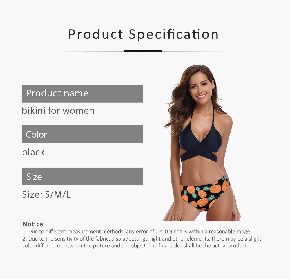Women's Swimwear V-Neck Sexy Padded Halter Bandage Bikini Two Piece Swimsuits High Waist Bathing Suit 6