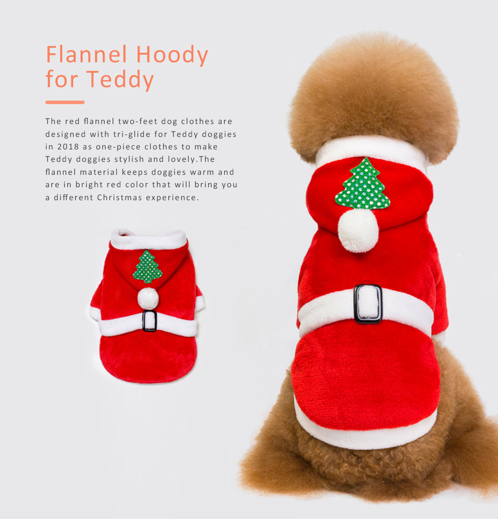 Flannel Christmas Clothes for Dogs New-style 2019 Christmas Pet Hood Clothes Tri-glide Flannel Teddy Dog Clothes 0