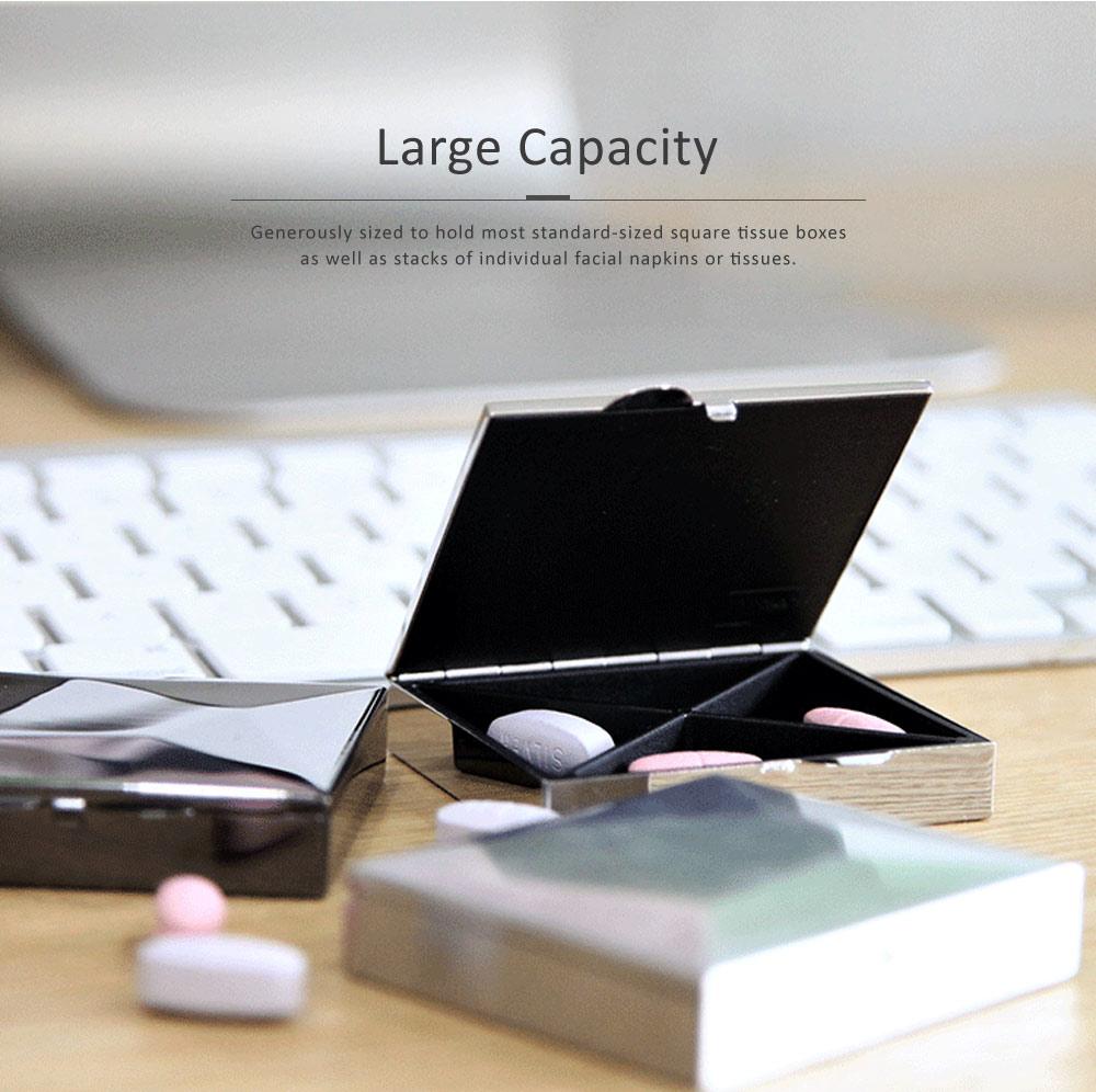 Square Pill Box Fashion Metal Diamond Stainless Steel Pill Case Quartile Pill Organizer Portable Tablet Holder 4