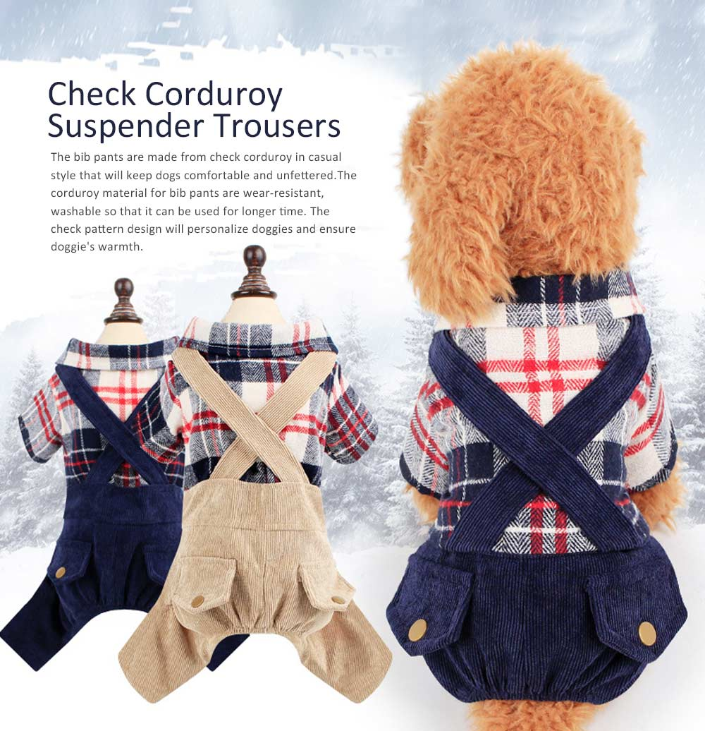 Bib Pants Check Corduroy Suspender Trousers, Casual Style Hawoo Trousers with Braces for Pets Stock Wholesale Pet Clothes 0