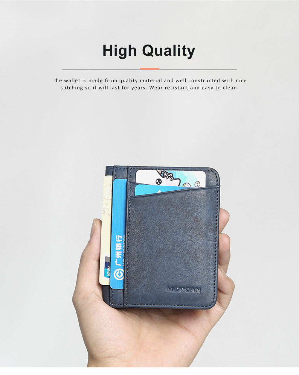 Men's Wallet Genuine Cowhide Leather Extra Capacity Bifold Wallets Slim Top Flip Money Clip Gifts for Men 2