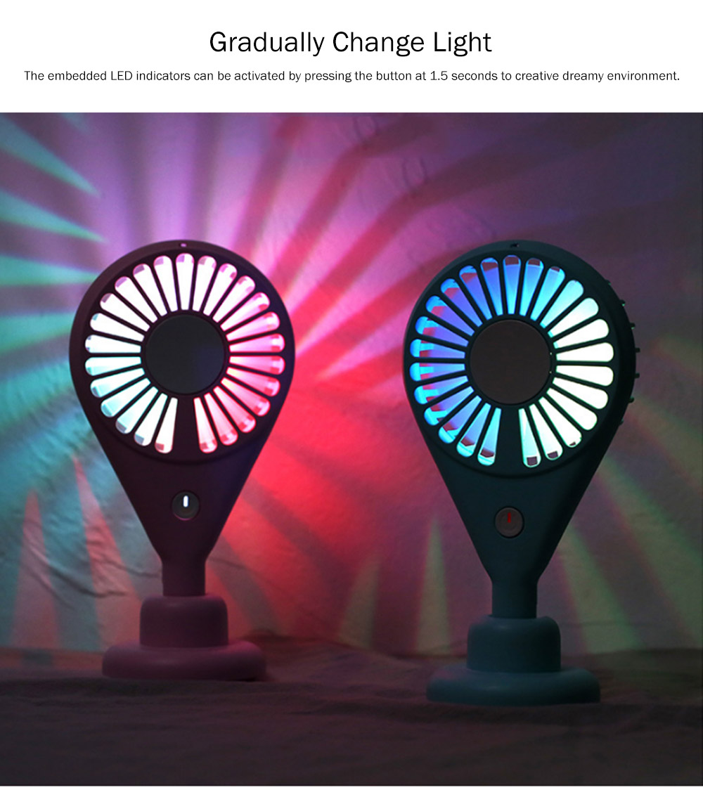 New-style Dual Version Mini Fan for Outdoor Plug In Portable Fan Handheld 2019 Rainbow Color Battery-Operated Nightlight Fan 6