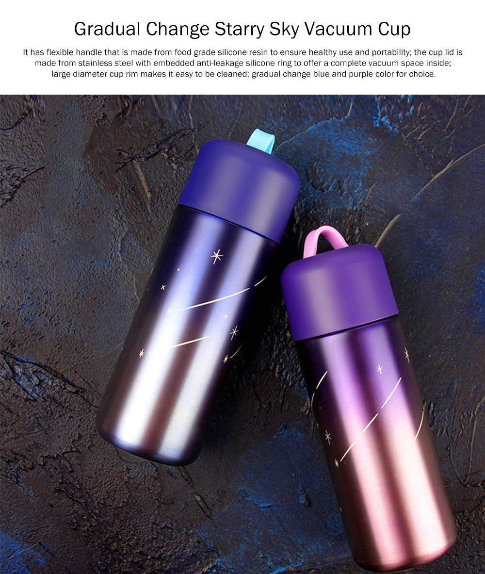 Stylish Fresh Color Vacuum Cup, Therapy Thermo Jug for Hot Water, Gradual Change Starry Sky Vacuum Cup for Students 3