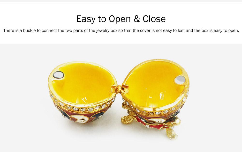Alloy-made Decorative Egg Shaped Jewelry Box, Creative and Stylish Rhinestone Egg Jewelry Organizer 3
