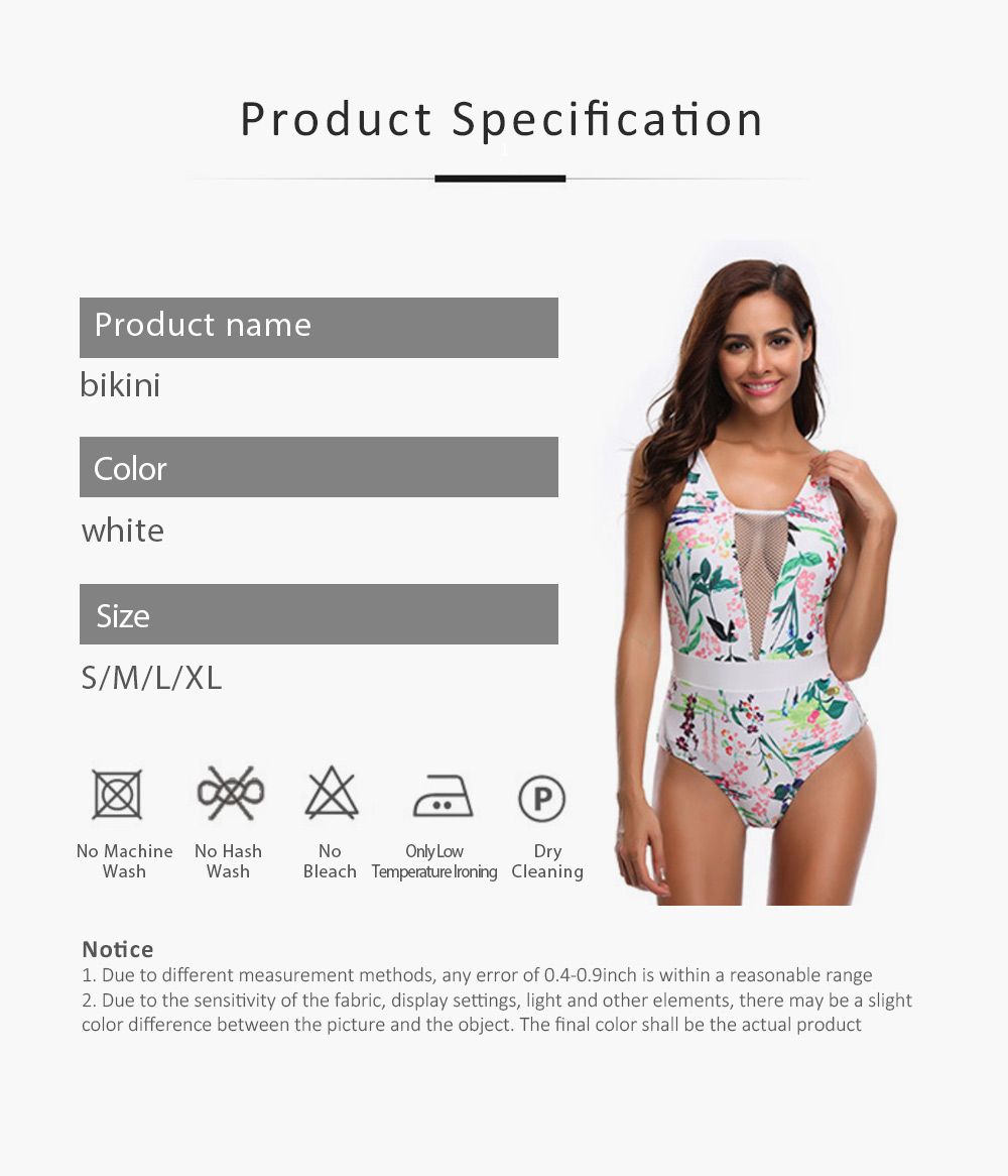 Womens One Piece Swimsuits Mesh V Neck Monokini Bathing Suits Tummy Control Floral Printed Swimwear 6