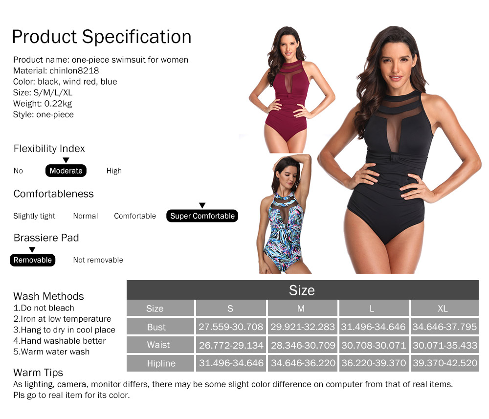 One-Piece Swimsuits Girls Net Yarn Swimsuit Lady Wear Black Sexy Swimming Suit Cover Ups for Women 5