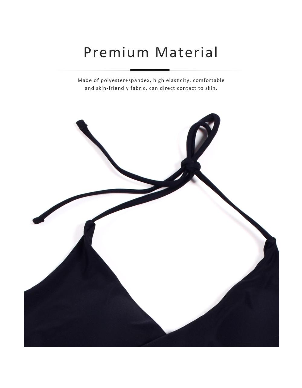 Women's Swimwear V-Neck Sexy Padded Halter Bandage Bikini Two Piece Swimsuits High Waist Bathing Suit 3