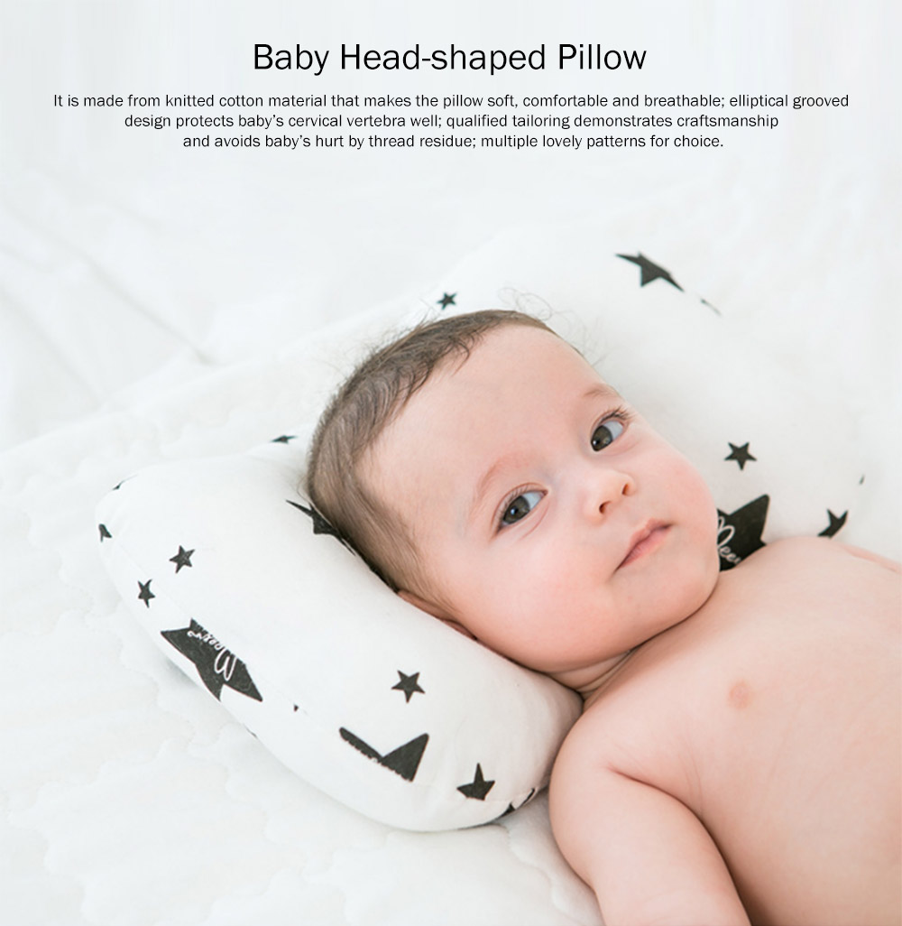 Cotton Baby Shape Pillow for Head, Flat Head Baby Pillows for Sleeping, Multiple Pattern Design Baby Pillow 0