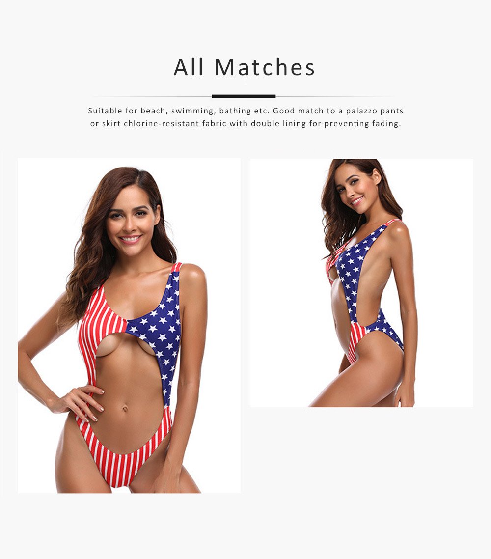 Womens Swimsuit V-Neck Sexy Bikini Backless American Flag One Piece High Waist Swimwear Bathing Suit 4