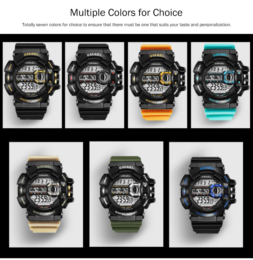 New-style Electronic Watches for Men, Outdoor Electronic Watch for Boys, Waterproof Shakeproof Sports-dedicated Watch 6