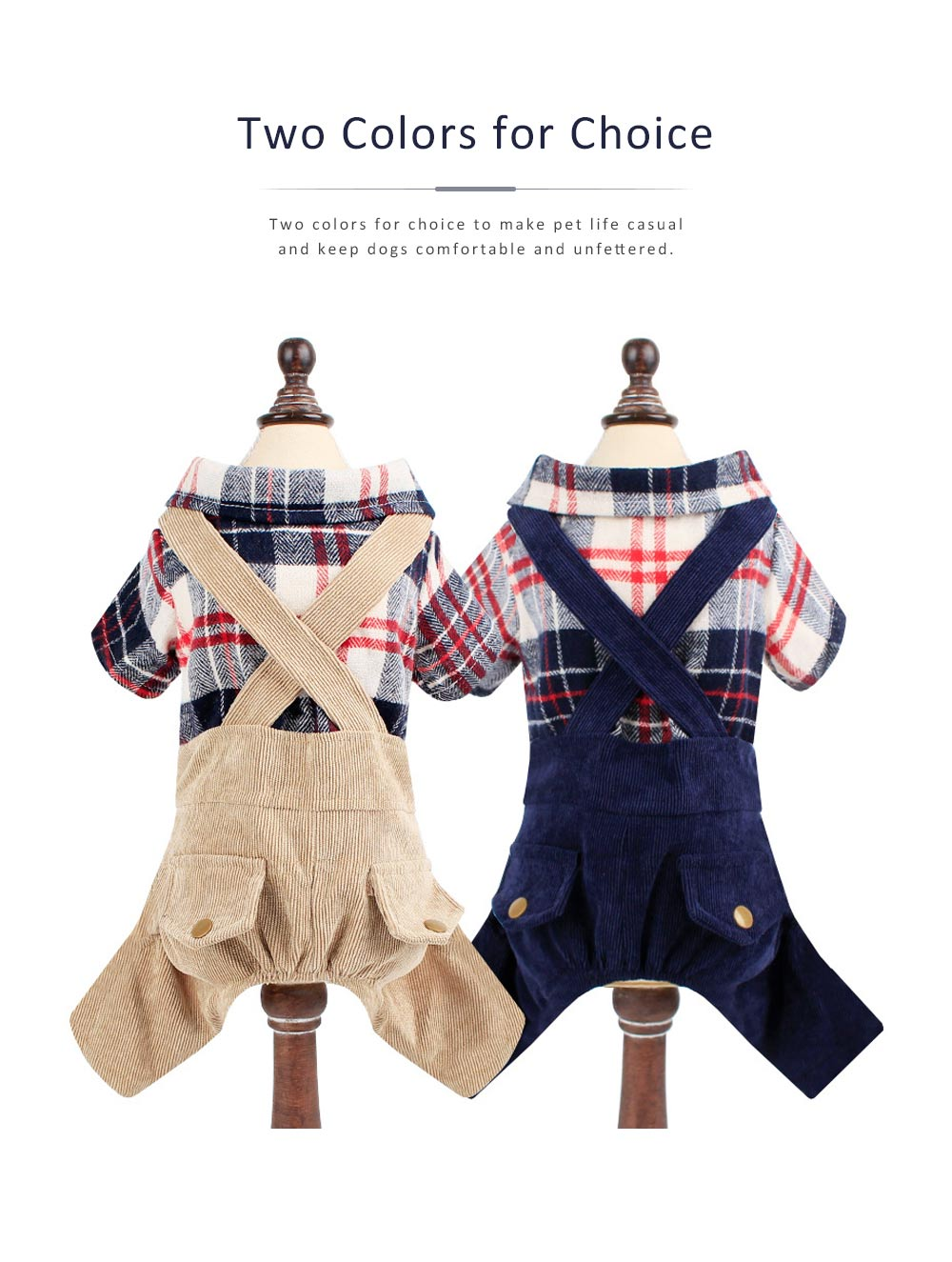 Bib Pants Check Corduroy Suspender Trousers, Casual Style Hawoo Trousers with Braces for Pets Stock Wholesale Pet Clothes 1
