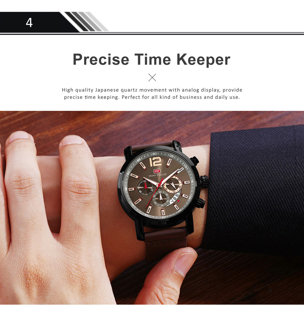 Men's Calendar Quartz Luminous Watch, Waterproof Sports Watch with Stylish Casual Leather Strap for Sport & Business Work 4