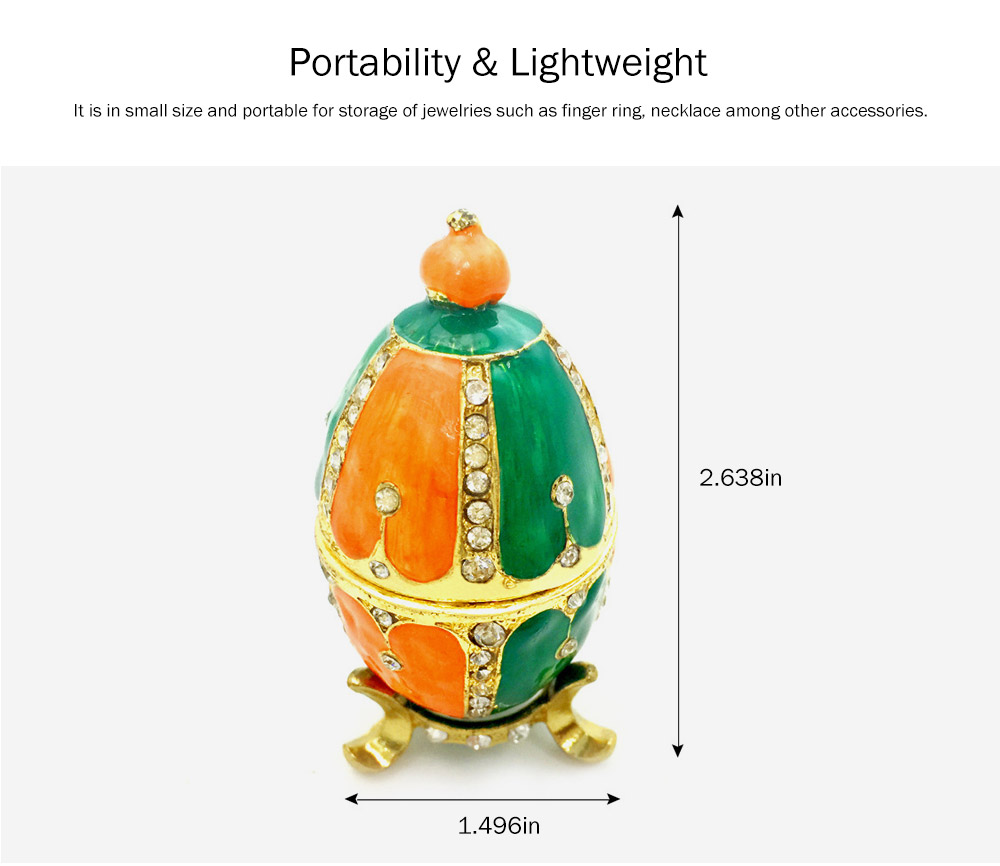 Creative and Color Painted Decorative Egg Jewelry Storage Box with Glass Top-selling Alloy-Made Jewelry Storage Container 4