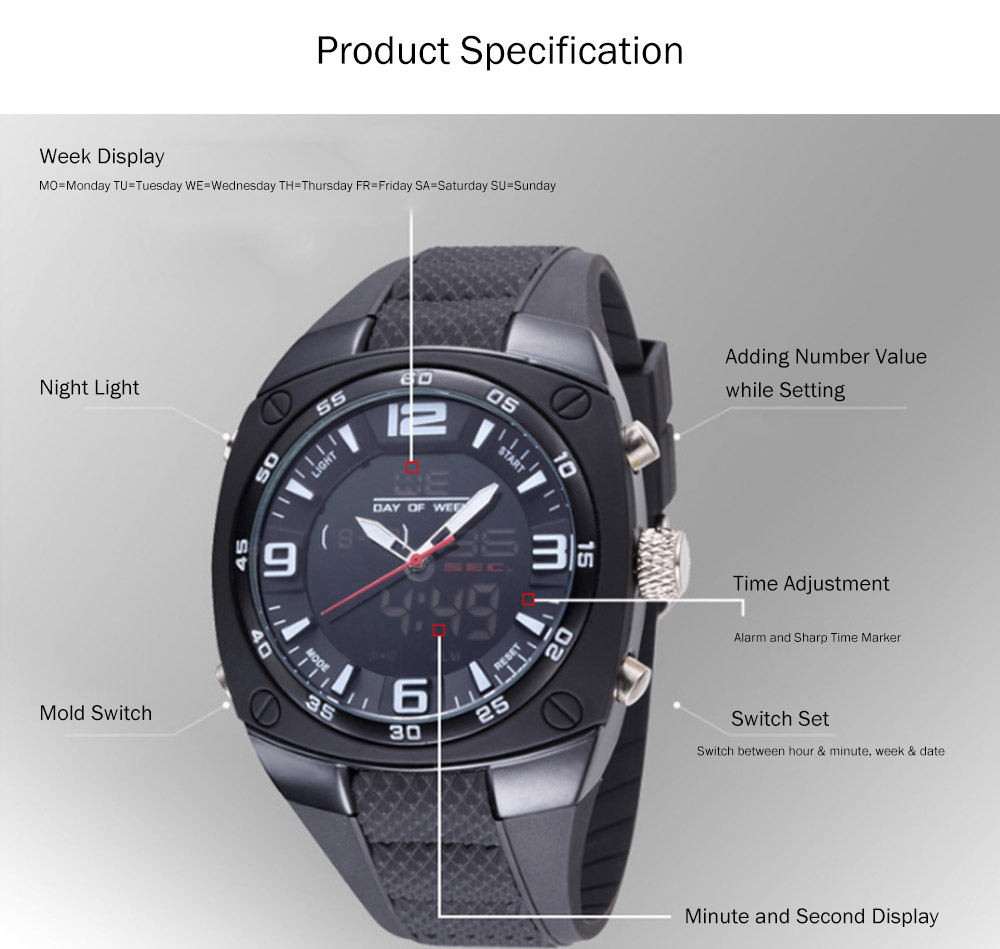 Dual Display Classics Watches for Men, Fashionable Male Watch Large Dial Plate Watches with Silicone Strap 6