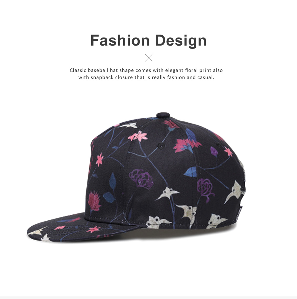 Unisex Baseball Hat Cotton Breathable Floral Print Trucker Hat Snap Back Hip Pop Baseball Caps for Gifts Fitness Running 3