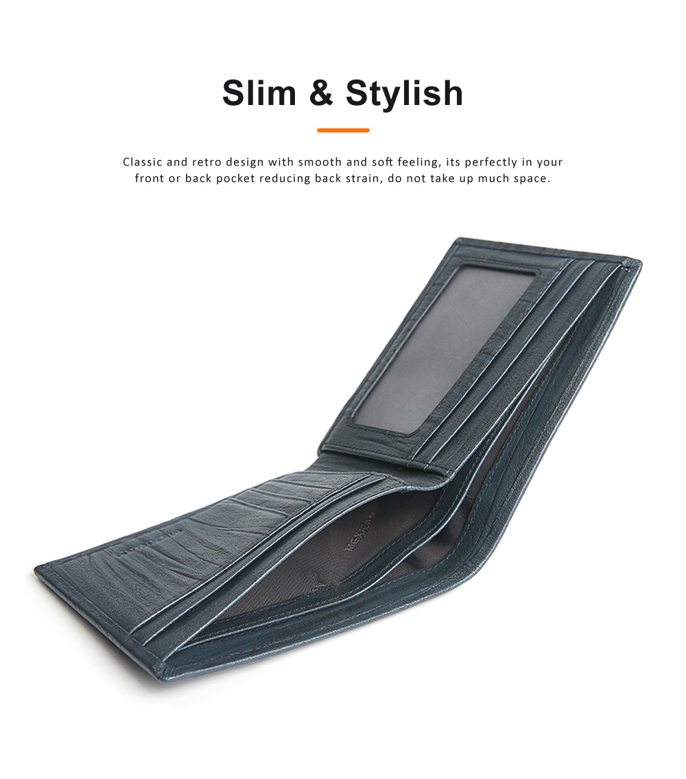 Men Wallet RFID Blocking Genuine Leather Wallets Slim Bifold Top Flip Money Clip Gifts for Men 3