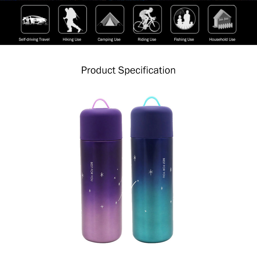 Stylish Fresh Color Vacuum Cup, Therapy Thermo Jug for Hot Water, Gradual Change Starry Sky Vacuum Cup for Students 10