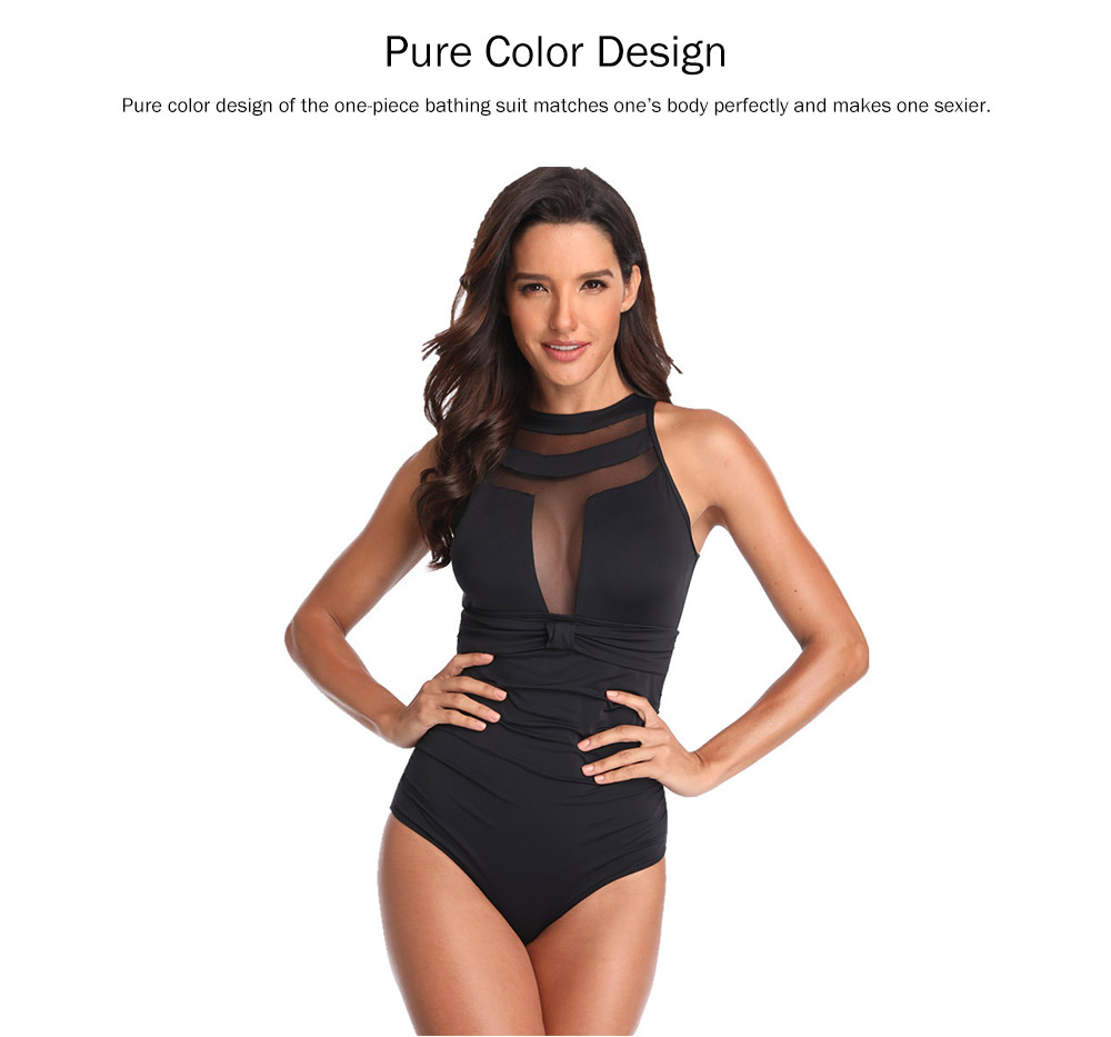 One-Piece Swimsuits Girls Net Yarn Swimsuit Lady Wear Black Sexy Swimming Suit Cover Ups for Women 0