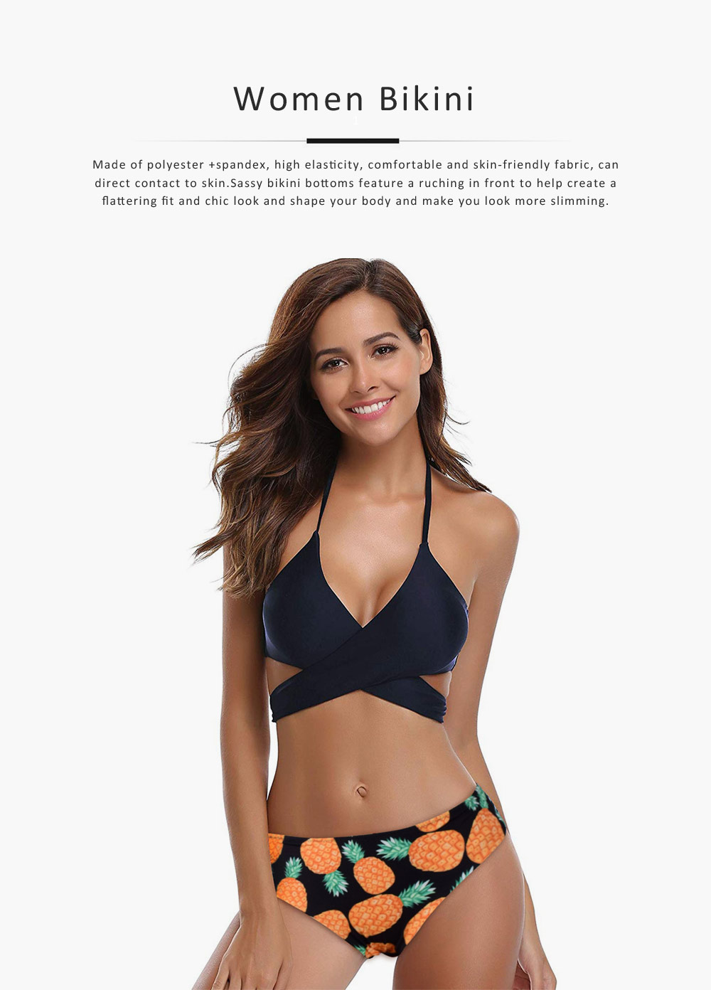 Women's Swimwear V-Neck Sexy Padded Halter Bandage Bikini Two Piece Swimsuits High Waist Bathing Suit 0