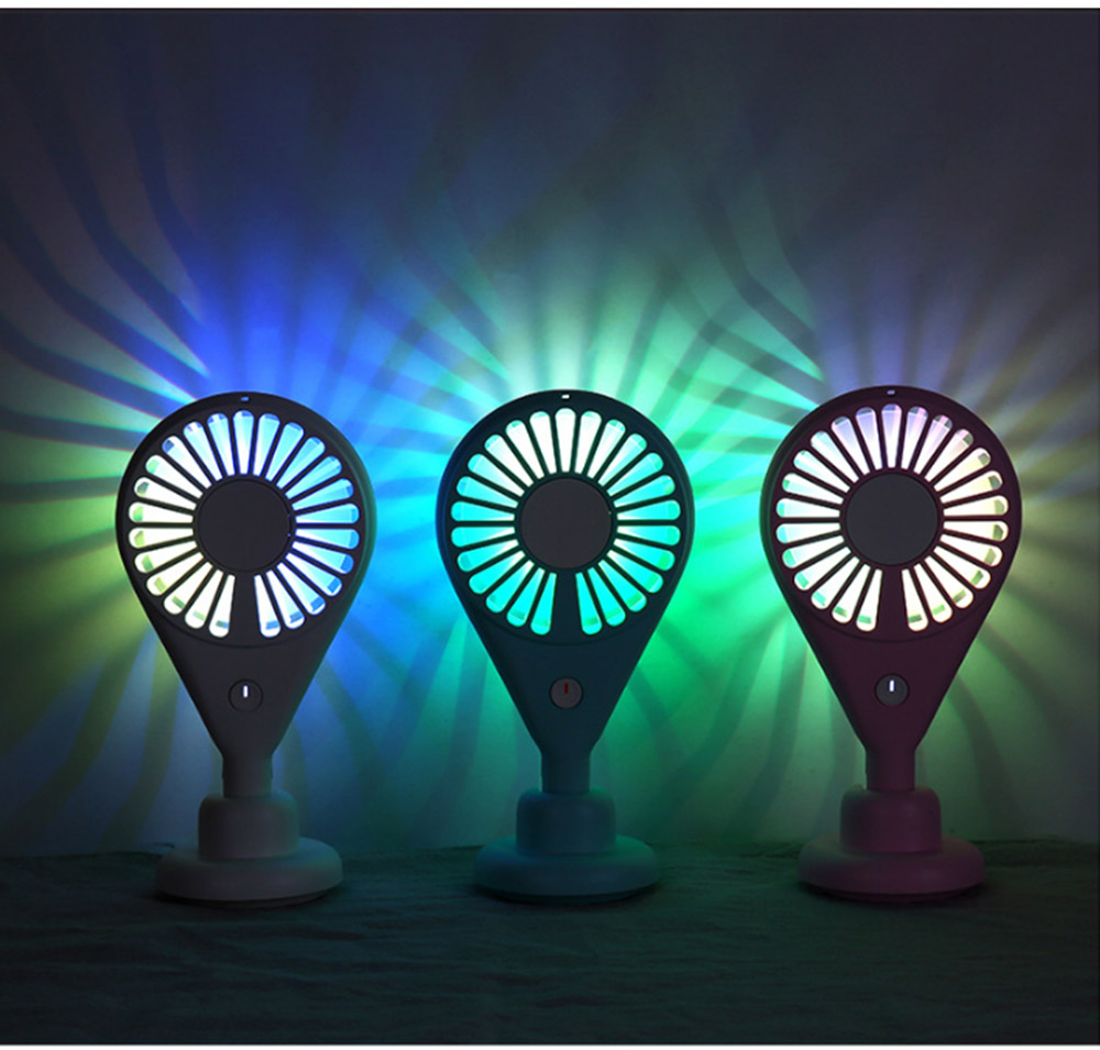 New-style Dual Version Mini Fan for Outdoor Plug In Portable Fan Handheld 2019 Rainbow Color Battery-Operated Nightlight Fan 7