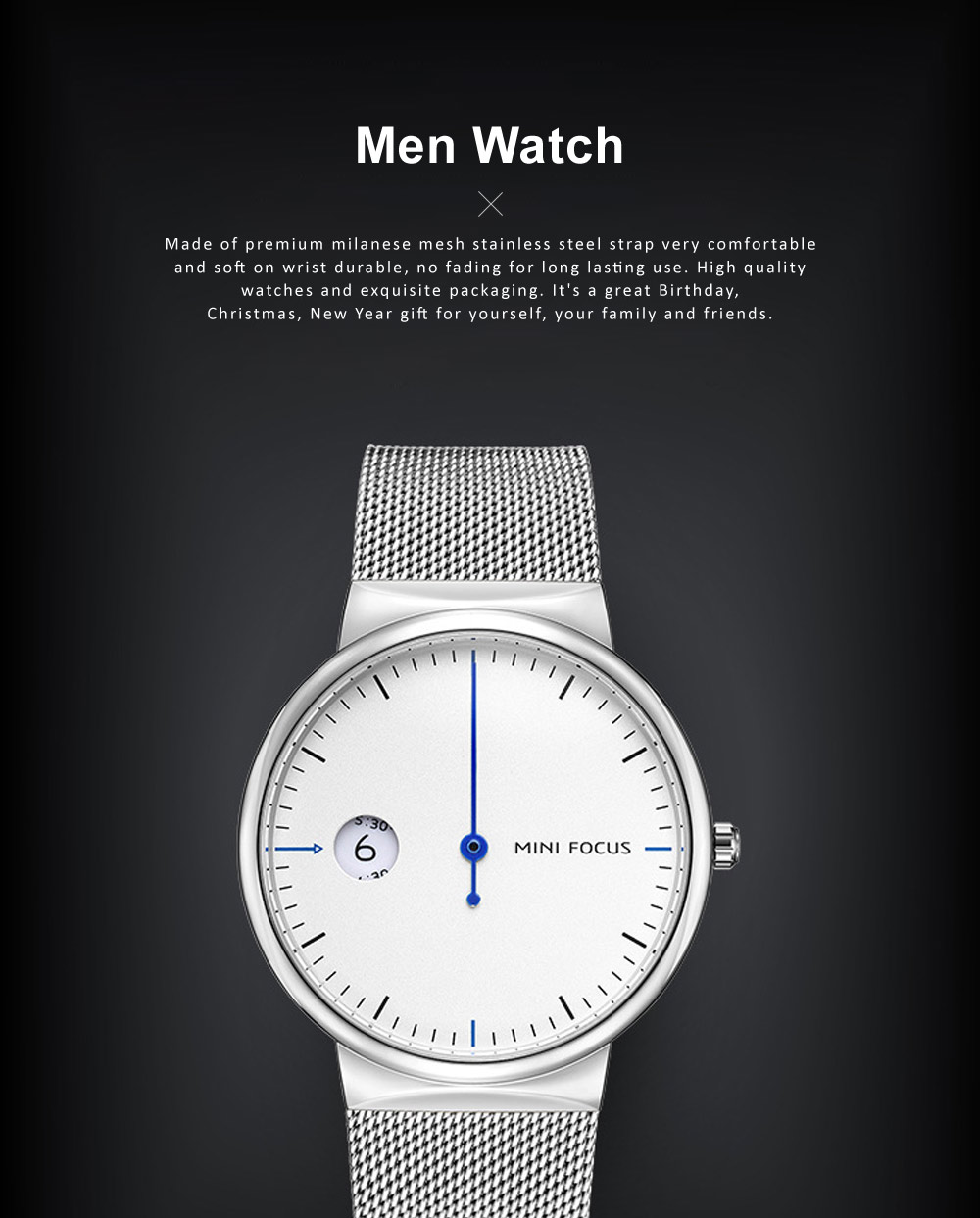 Men's Watch Fashion Calender Quartz Dail Stainless Steel Mesh Band Waterproof Wrist Watch for Gifts 0
