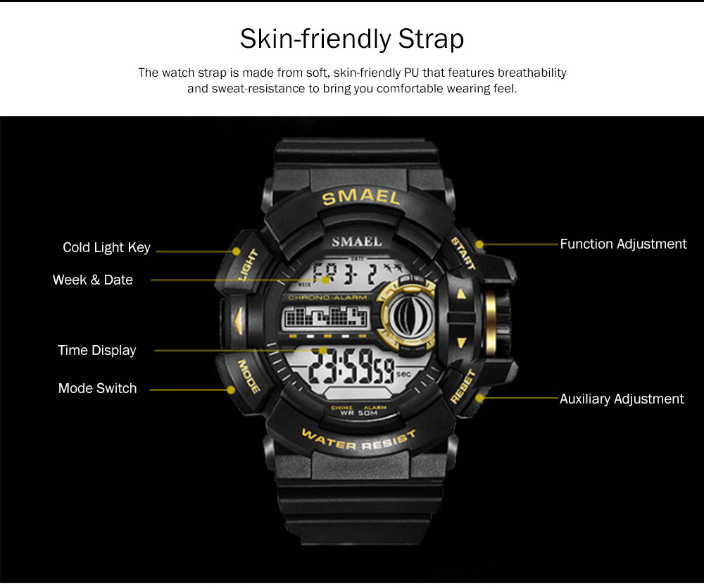 New-style Electronic Watches for Men, Outdoor Electronic Watch for Boys, Waterproof Shakeproof Sports-dedicated Watch 1