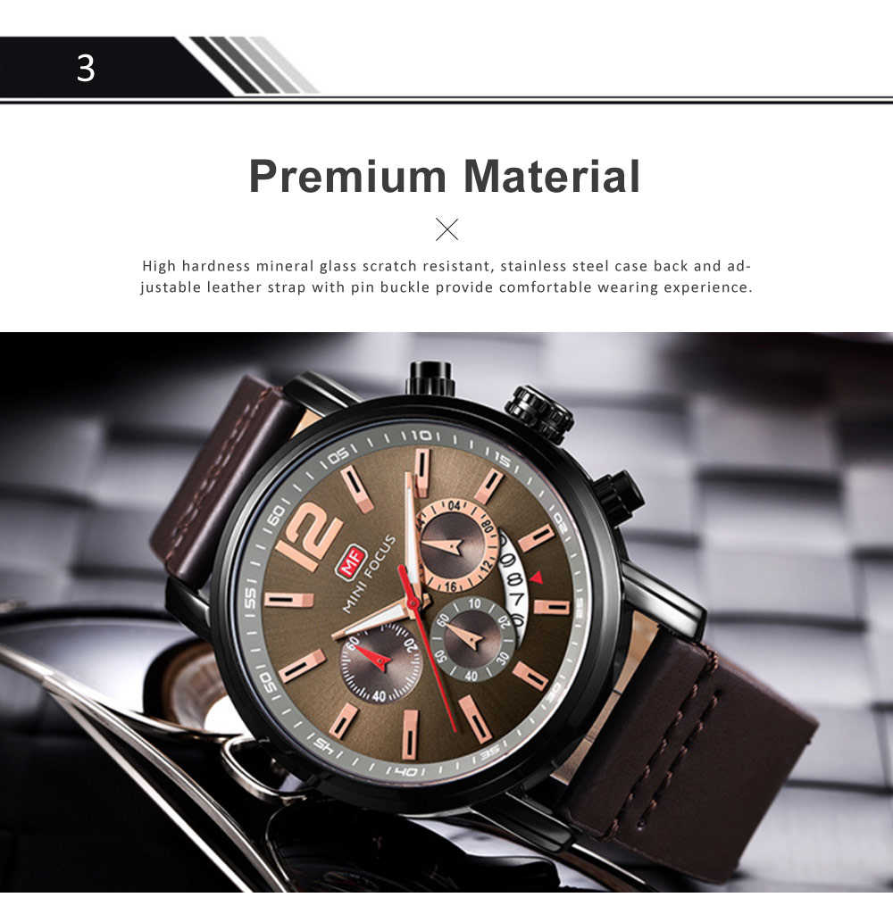 Men's Calendar Quartz Luminous Watch, Waterproof Sports Watch with Stylish Casual Leather Strap for Sport & Business Work 3