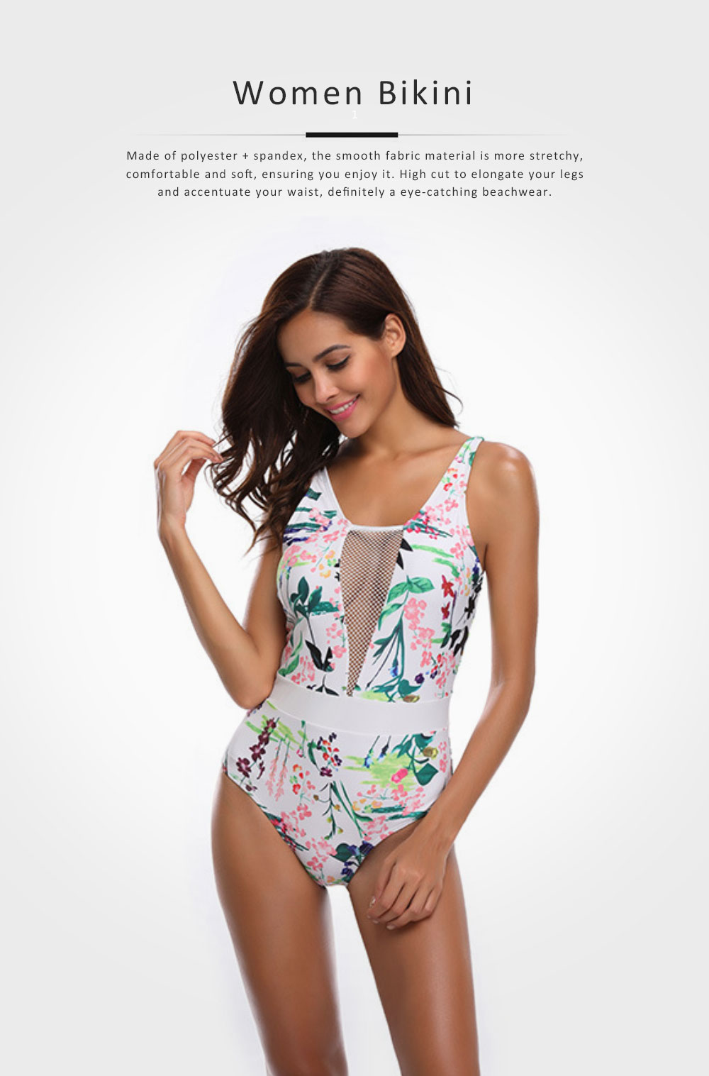 Womens One Piece Swimsuits Mesh V Neck Monokini Bathing Suits Tummy Control Floral Printed Swimwear 0