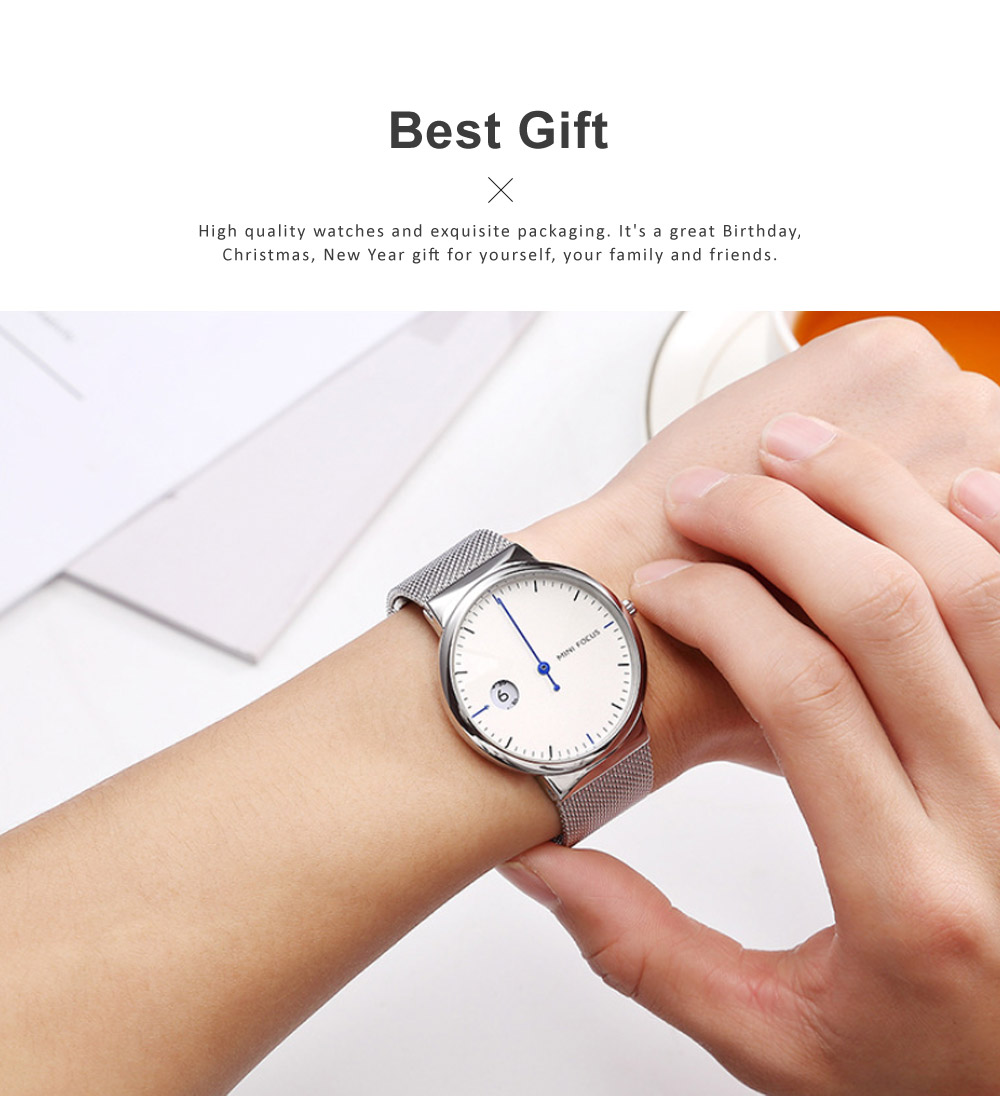 Men's Watch Fashion Calender Quartz Dail Stainless Steel Mesh Band Waterproof Wrist Watch for Gifts 5
