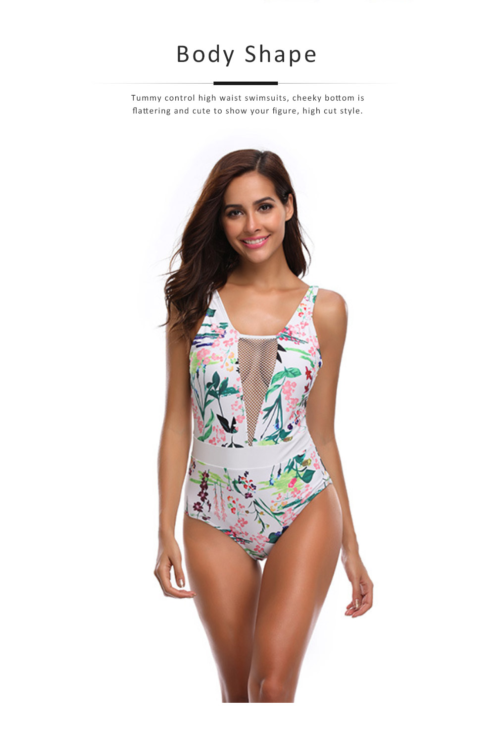 Womens One Piece Swimsuits Mesh V Neck Monokini Bathing Suits Tummy Control Floral Printed Swimwear 5