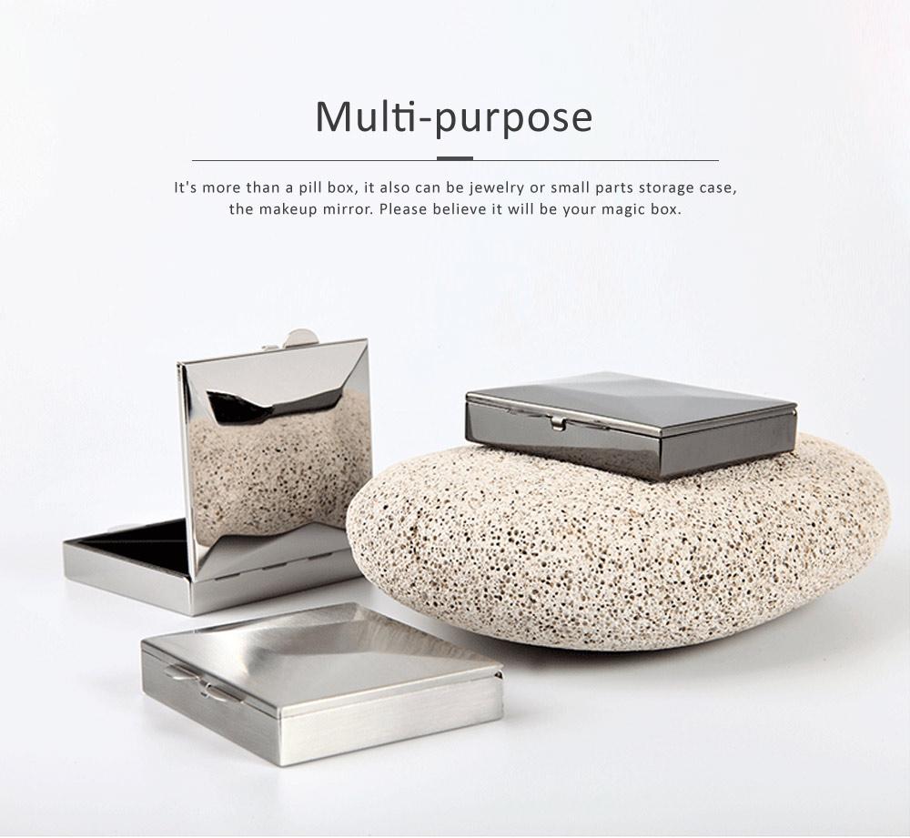 Square Pill Box Fashion Metal Diamond Stainless Steel Pill Case Quartile Pill Organizer Portable Tablet Holder 5