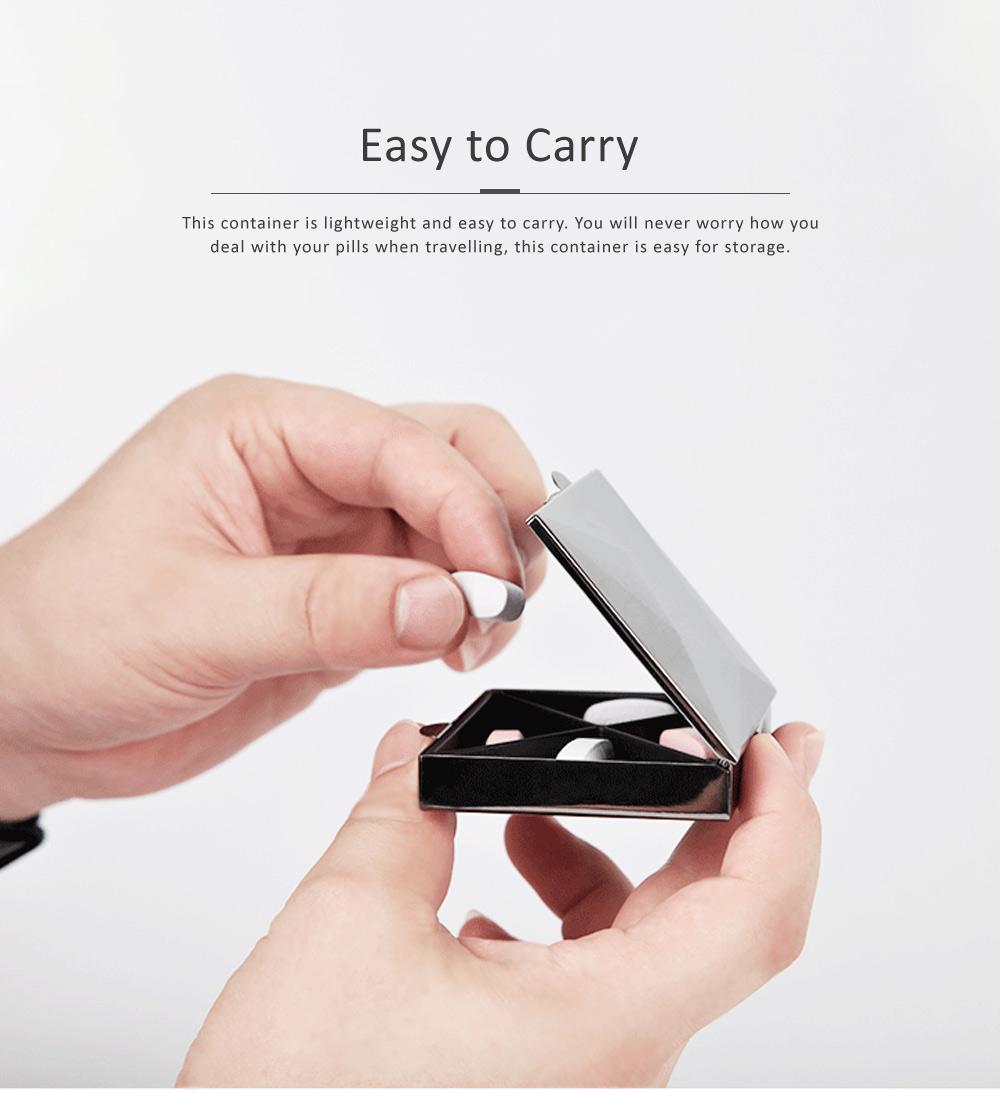 Square Pill Box Fashion Metal Diamond Stainless Steel Pill Case Quartile Pill Organizer Portable Tablet Holder 2