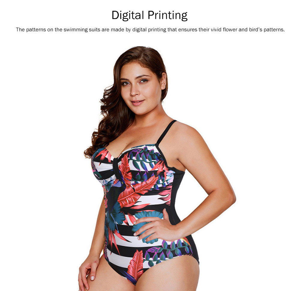 Large Size One-piece Swimming Suit for Women, Digital Printing Flower Patterns One-piece Swimsuits, Top-selling 1