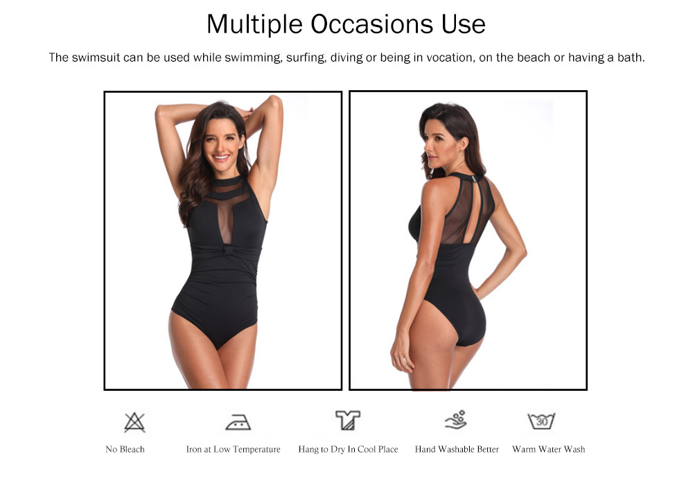 One-Piece Swimsuits Girls Net Yarn Swimsuit Lady Wear Black Sexy Swimming Suit Cover Ups for Women 4